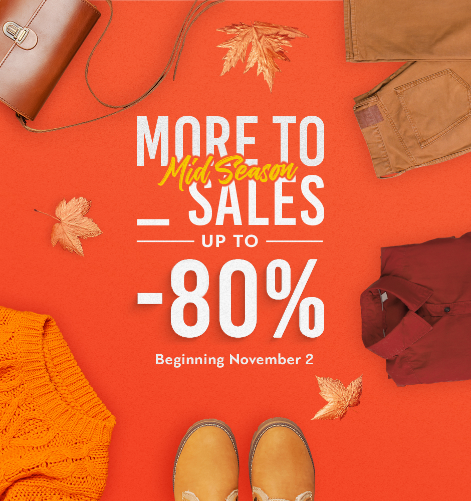 November Mid-Season Sales up to -80% at Fashion City Outlet